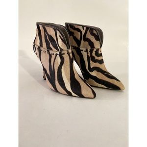 Nine West zebra faux fur booties size 7